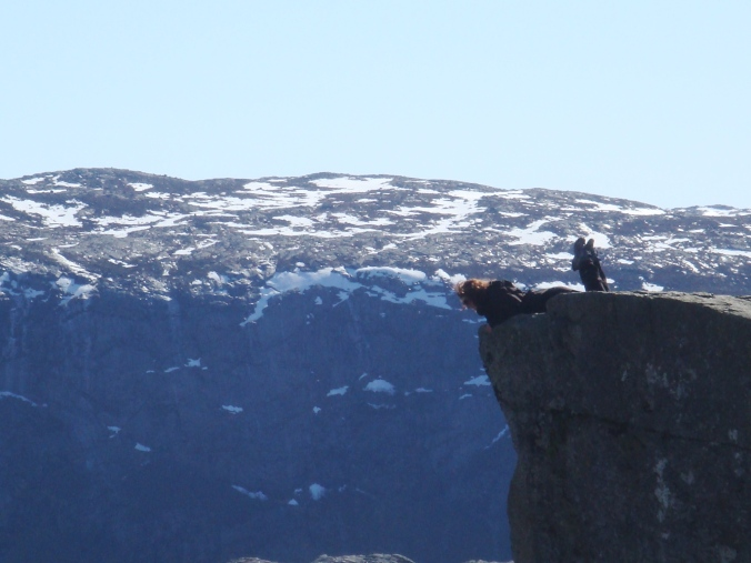 Taking a peek over Preikestolen Spring 2012