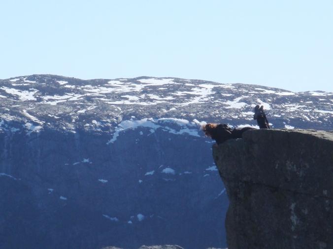 Taking a peek over Preikestolen Spring 2012