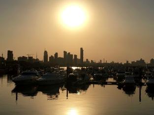 Walking around the marina at sunset