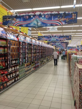 "Walked in the grocery after a couple of weeks to see a celebration of ""American Food"" There was a lot of ketchup and chips haha"